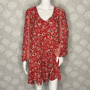 Zara Trafaluc Dress Size Small Red Floral